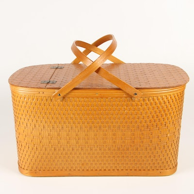 "Burlington Basket Co. ""Hawkeye"" Woven Picnic Basket with Hinged Lid and Shelf"