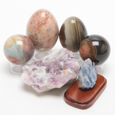 Pink Marble, Green & Purple Fluorite, Blue Kyanite and Other Minerals