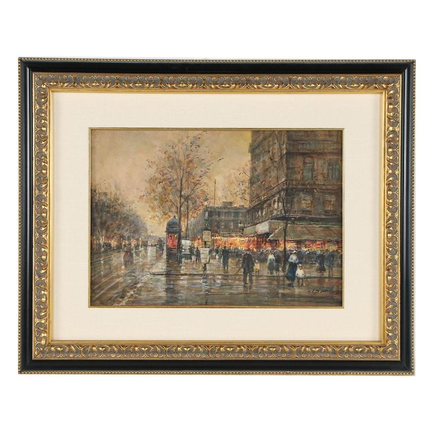 Watercolor Painting of a Paris Cityscape