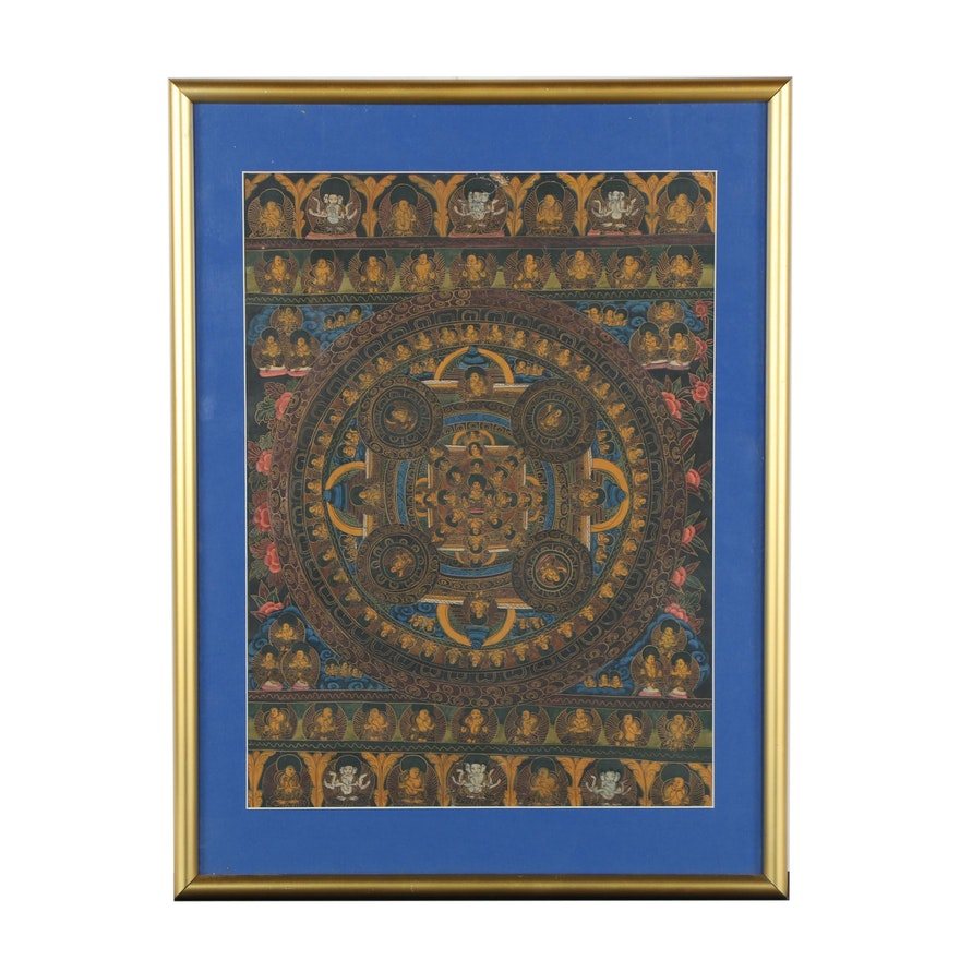 Tibetan Gouache Mandala Thangka Painting