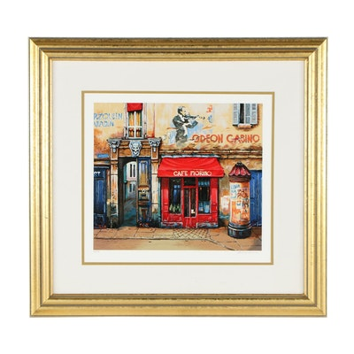 "Alexander Borewko Serigraph ""Cafe Fiorino"""