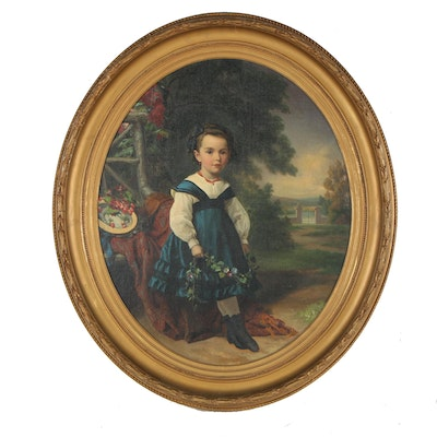 19th Century Child Portrait Oil Painting