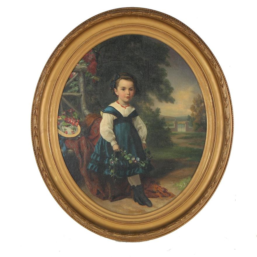 19th Century Child Portrait Oil Painting