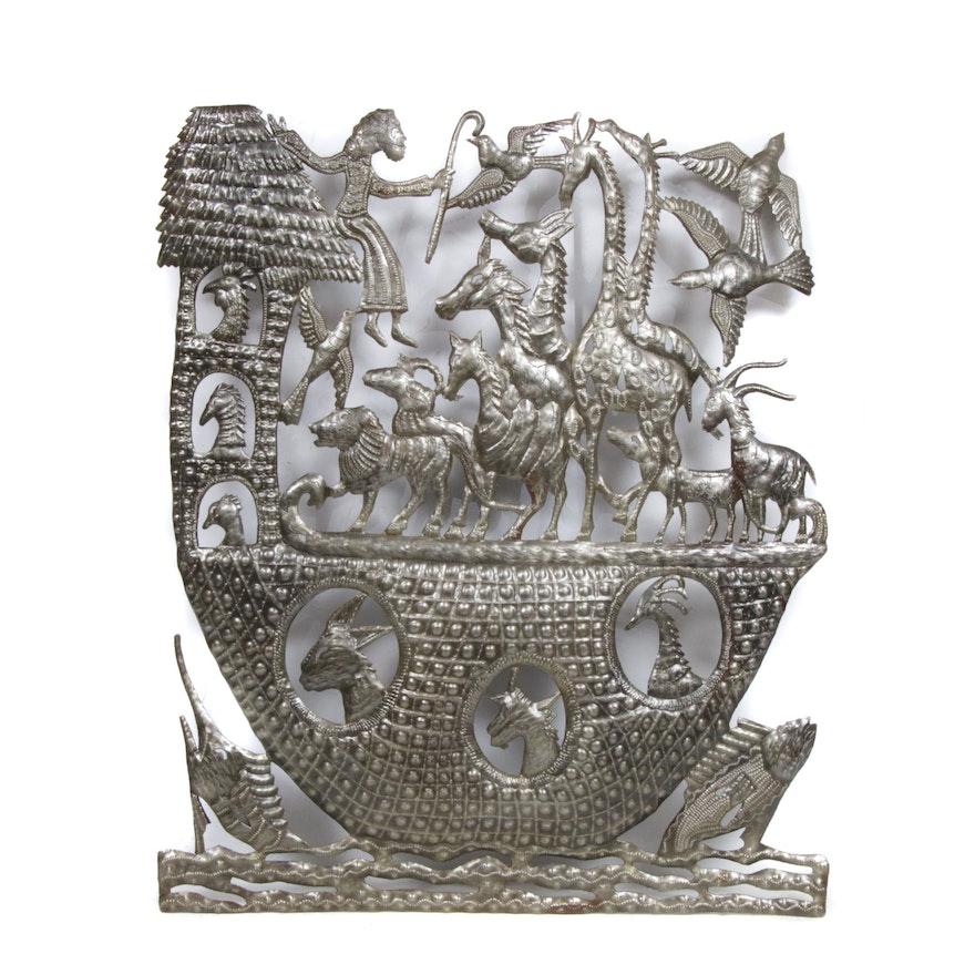 Haitian Recycled Steel Sculpture Of Noah's Ark
