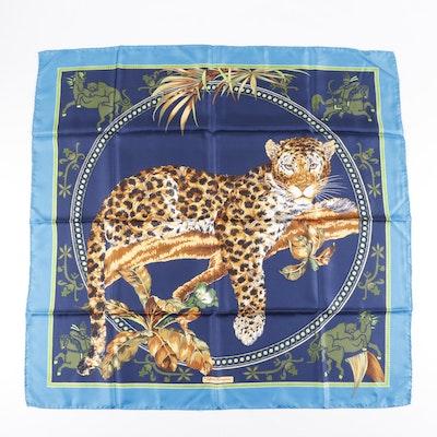 Salvatore Ferragamo Leopard Print Silk Scarf