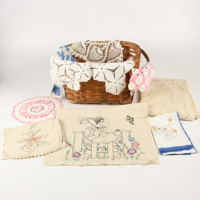 Split Wood Basket with Lace and Embroidered Table Linens
