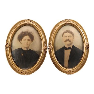 Late 19th Century Crayon Portraits Under Bubble Glass