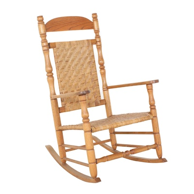 Oak Rocking Chair with Woven Split Reed Seat