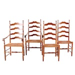 Four Colonial Style Cherry Ladder Back Rush Seat Chairs