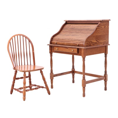 Wood Roll-Top Desk with Spindle Back Chair, Mid to Late 20th Century