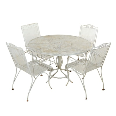 Five-Piece White-Painted Metal and Wire-Mesh Patio Dining Group, 20th Century
