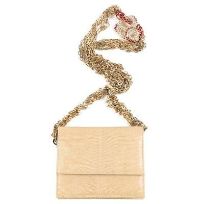 Valentino Garavani Beige Lizard Skin Flap Bag with Embellished Snake Accent