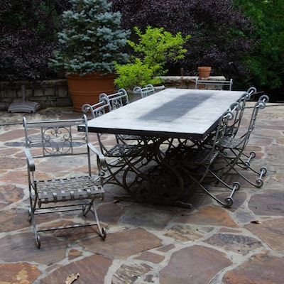 Italian Designer Patio Dining Table and Chairs