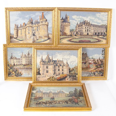 Machine-Woven Tapestry Panels of Loire Valley French Castles