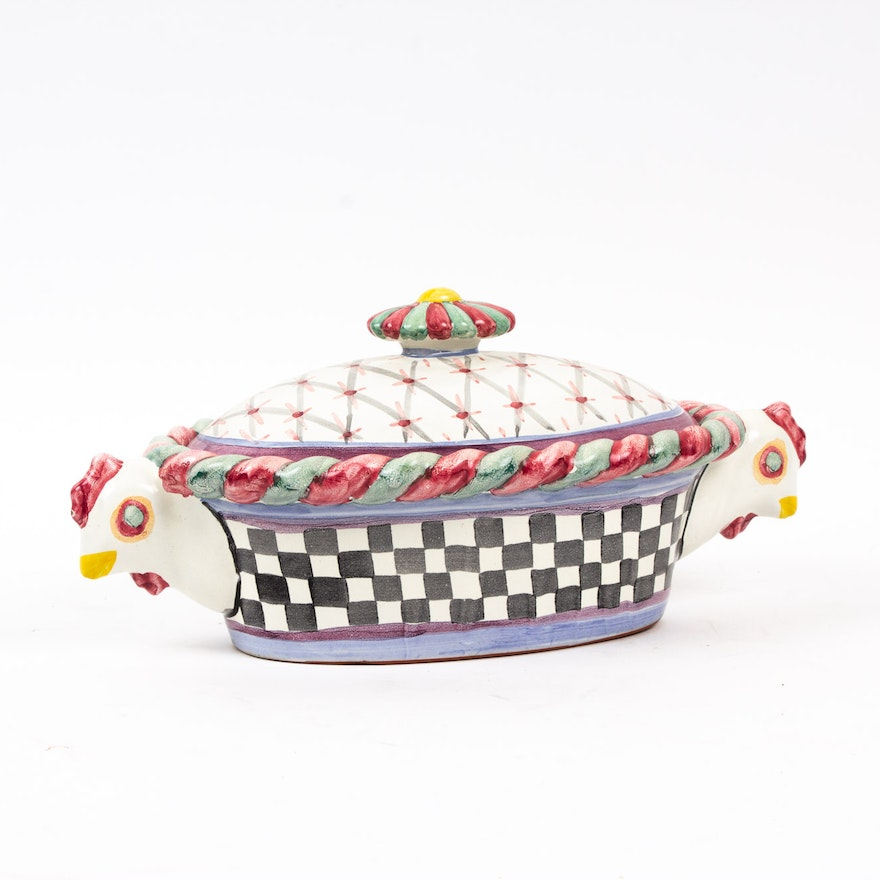 "MacKenzie-Childs ""Piccadilly"" Lidded Casserole Dish, 1983"