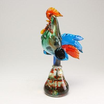 Murano Hand-Blown Art Glass Rooster