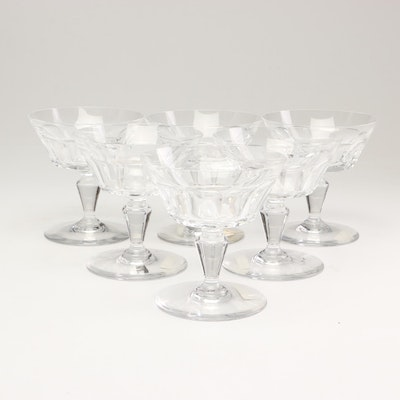 "Baccarat ""Bretagne"" Cut Crystal Tall Sherbet Glasses, Late 20th Century"