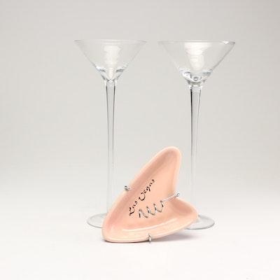 "Mid-Century Modern ""Las Vegas"" Ashtray with Long-Stem Martini Glasses"