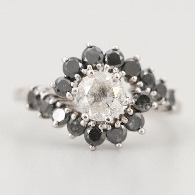 14K White Gold 1.00 CT Diamond and 1.10 CTW Black Diamond Ring