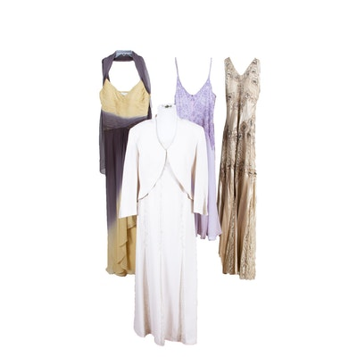 Oleg Cassini Beaded Silk Dress, Daymor Couture, Caché, and Gilar Evening Dresses