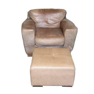 Precedent Over-sized Contemporary Leather-Upholstered Armchair and Ottoman