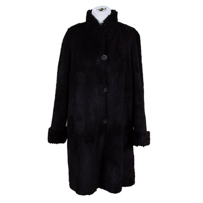 Dark Mahogany Sheared Mink Fur Coat