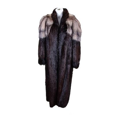 Alfred Sung Beaver and Fox Fur Full-Length Coat