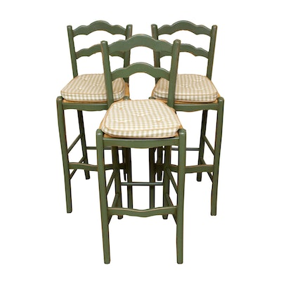 Three French Country Style Painted Wood and Rush-Seat Barstools