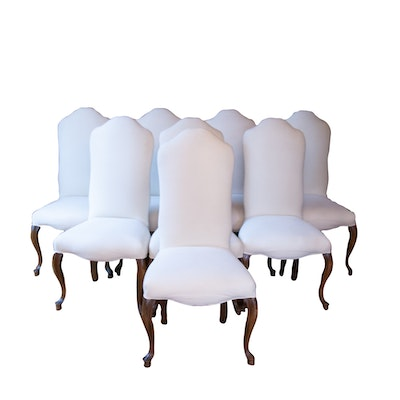 Set of Eight Rococo Style Contemporary Upholstered Dining Chairs