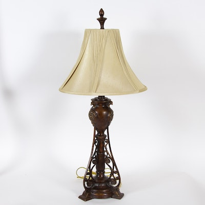 Antiqued Neoclassical Style Metal Table Lamp