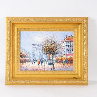 P. Sanchez Oil Painting of a Paris Cityscape