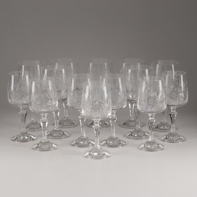 Cut Crystal Water Goblets and Wine Glasses, Vintage