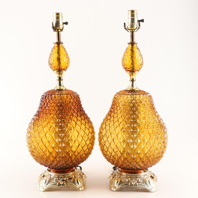 EF & EF Industries Amber Glass Table Lamps, 1973