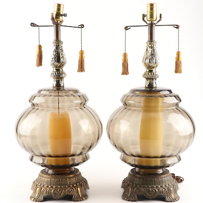 Colored Glass Table Lamps with Silk Tassels, Late 20th Century
