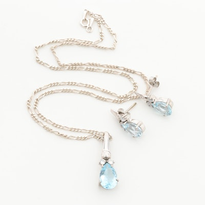 18K White Gold Topaz and Cubic Zirconia Earrings and Pendant on Sterling Chain