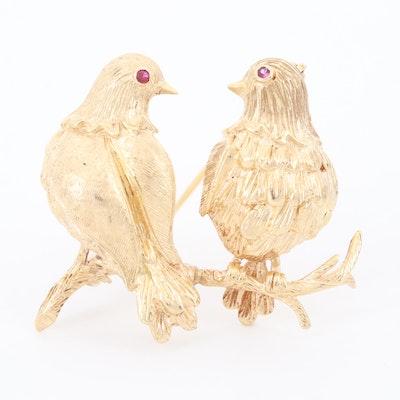 Vintage 14K Yellow Gold Ruby Bird Brooch