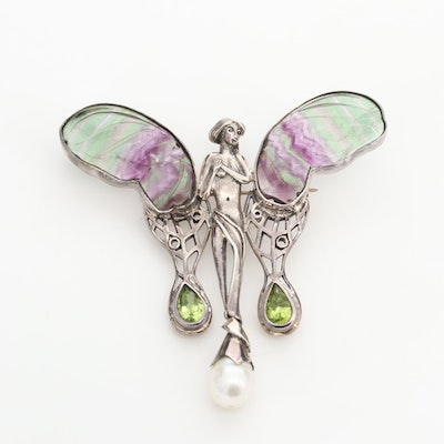 Sterling Silver Fluorite, Cultured Pearl and Peridot Fairy Converter Brooch