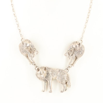 Sterling Silver Wolf Motif Necklace