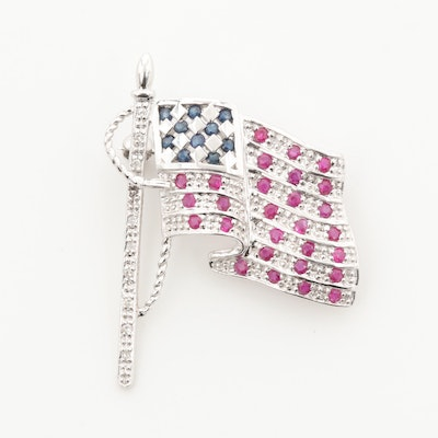 14K White Gold Ruby, Blue Sapphire and Diamond American Flag Brooch