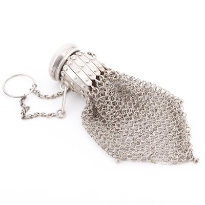 Sterling Silver Chainmail Gate Top Chatelaine Coin Purse with Monogram, Antique