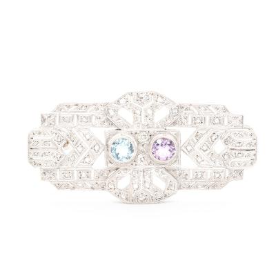 Art Deco Style 18K Gold Diamond, Amethyst and Aquamarine Brooch
