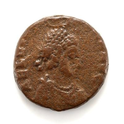 Ancient Roman Eudoxia AE3 Coin, Circa 401-403