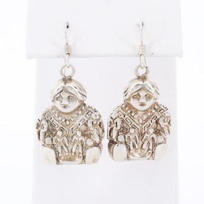 """Southwestern Style Sterling Silver """"Happy Child"""" Earrings"""