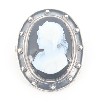 Vintage Sterling Silver Onyx Cameo Brooch