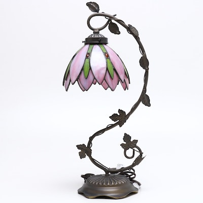 Metal Tole Table Lamp with Ivy Decoration and Layered Slag Glass Shade