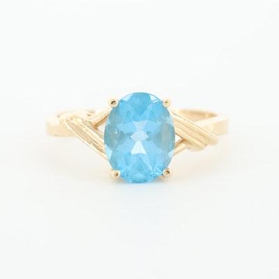 10K Yellow Gold Blue Topaz Ring