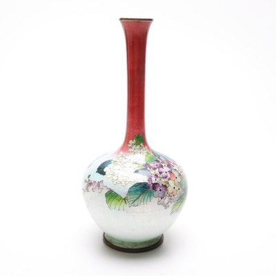 Japanese Ginbari Cloisonné Floral Bud Vase, Early 20th Century
