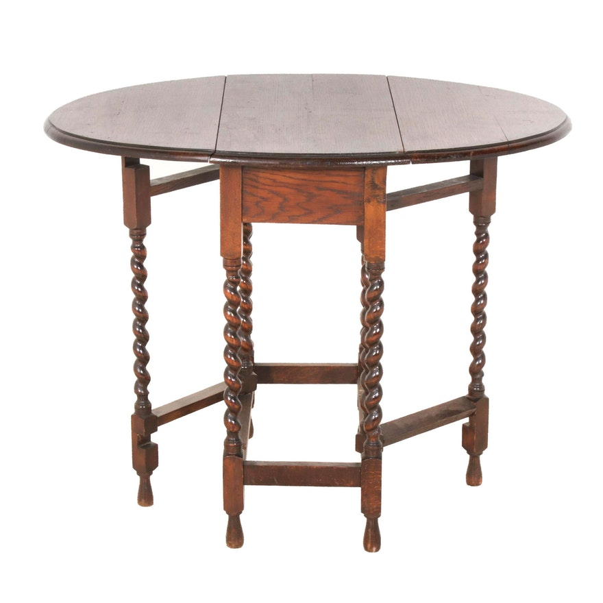 William and Mary Style Oak Drop-Leaf Table, Late 19th/ Early 20th Century