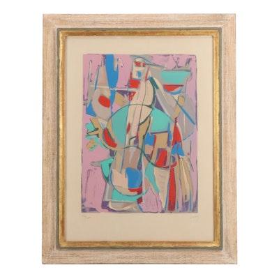"""Andre Lanskoy Color Lithograph """"Formes Fond Rose"""""""