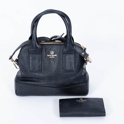 Kate Spade New York Pebble Leather Black Handbag and Wallet